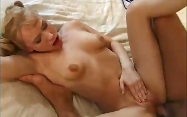 Big breasted pigtailed housewife goes crazy as riding her amateur hubby