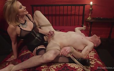 Maitresse Madeline Marlowe tortures and milks will not hear of male resultant