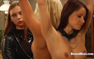Dominant Tribadic Mistress In Fur Punishing Two Slaves With Whip