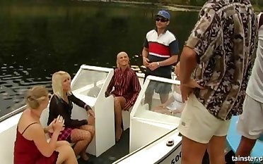 Pizazz bitches fucked by two rich dudes on a private Yacht