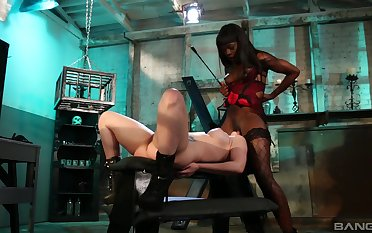 Ebony dust-ball plays with her slave girl pretty rough