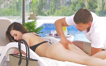 Fortifying massage and poolside sex for scrumptious Victoria Traveler