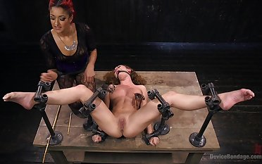 Intense bondage triplet distraction featuring Bee's knees Ducati and Roxanne Rae