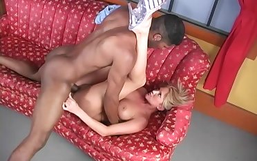 Black man puts his monster to drill this blonde's wet cunt