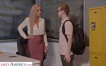 Horny nerdy MILFie tutor Nina Elle fucks copiously with her student on the desk