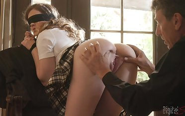 Blindfolded Devon Green in miniskirt fucked by an experienced neighbor