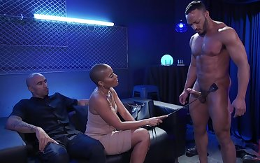 Watch really wild hardcore MMF threesome with big racked black nympho