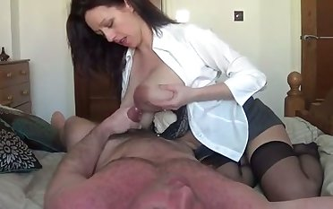 My frightfully hot wife with big lactating titties is riding me with cherish