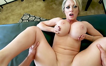 MILF with huge tits, superb POV sex at home