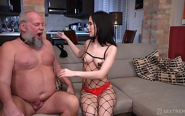Perverted old man Albert enjoys fucking young domme Nikki Mephistopheles