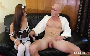 Asian housewife in XXX perpetual Karen gives her head and gets fucked