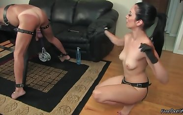 Hot Mistress Preparing Slave's Ass Of Strapon Going to bed
