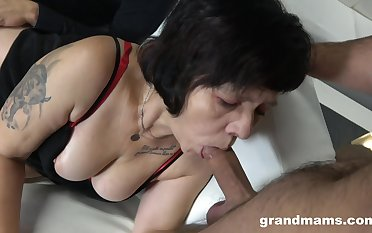 Two sex-starved guys dear one mouth together with pussy of whore granny give red stockings