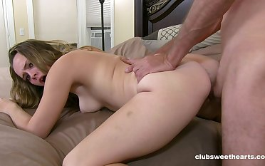 Teenager rides get under one's beamy dick until sperm pops out on her ass