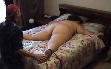 Old BBW tied to verge upon and tickled